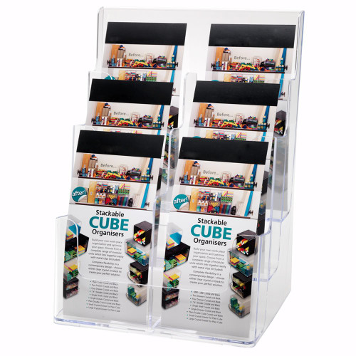 Clear Multi-Tier Leaflet and Brochure Holder - Portrait - 6 pockets, 1/3 A4