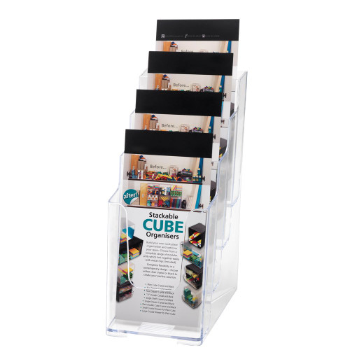 Clear Multi-Tier Leaflet and Brochure Holder - Portrait - 4 pockets, 1/3 A4