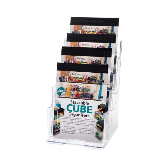 Clear Multi-Tier Leaflet and Brochure Holder - Portrait - 4 pockets, A5