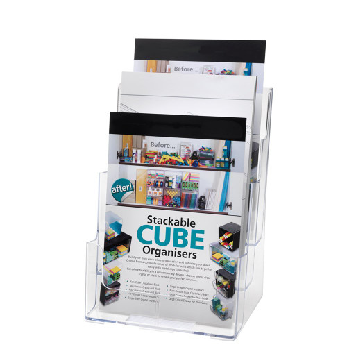 Clear Multi-Tier Leaflet and Brochure Holder - Portrait - 3 pockets, A4
