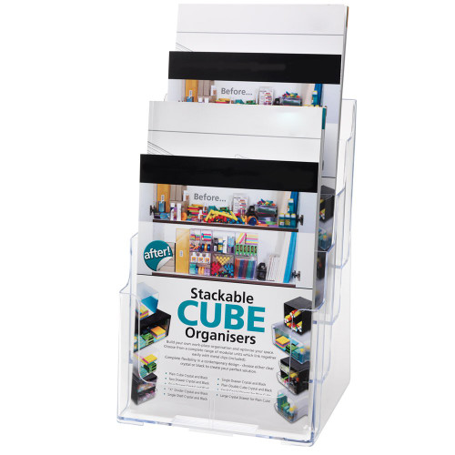 Clear Multi-Tier Leaflet and Brochure Holder - Portrait - 4 pockets, A4