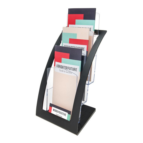 Black Multi-Tier Contemporary Leaflet and Brochure Holder - 3 pockets, 1/3 A4