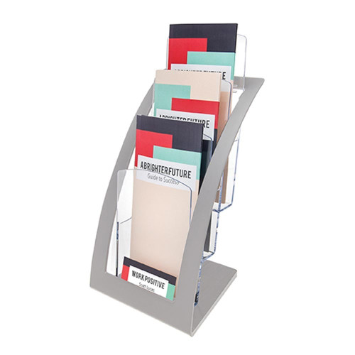 Silver Multi-Tier Contemporary Leaflet and Brochure Holder - 3 pockets, 1/3 A4