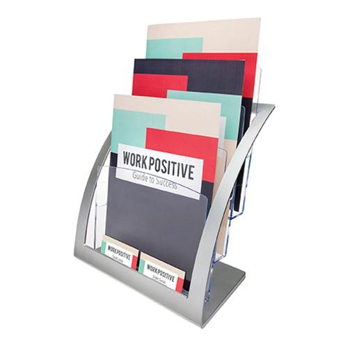 Silver Multi-Tier Contemporary Magazine Holder - 3 pockets, A4