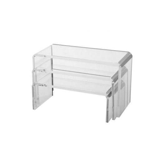 Set of 3 Clear Acrylic Display Bridges - Small, H50, 75, 100mm