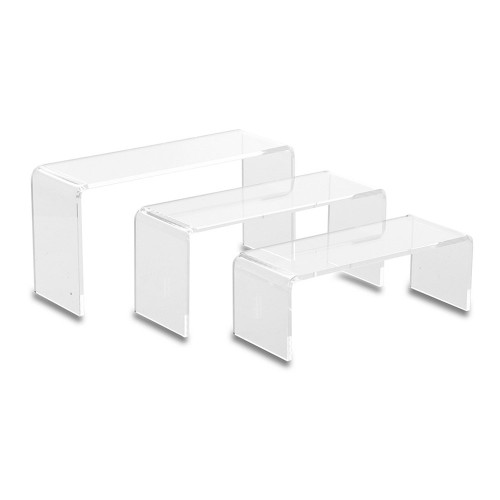 Set of 3 Clear Acrylic Display Bridges - Small, H45, 60, 75mm