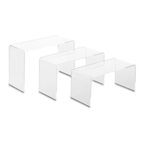 Set of 3 Clear Acrylic Display Bridges - Large, H100, 125, 150mm