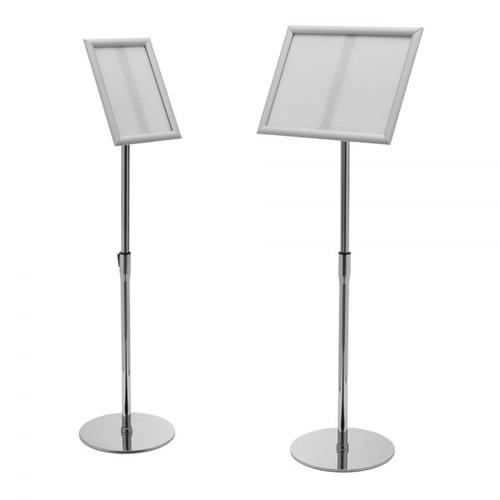 Silver Adjustable Floor-Standing Snap Frame Sign Holder