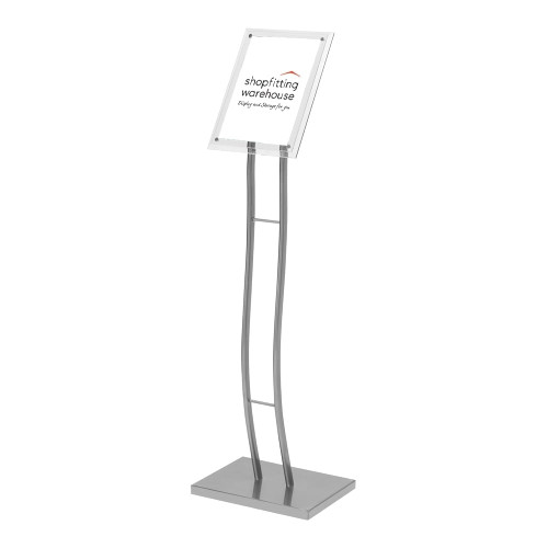 Silver Curved Floor-Standing Sign Holder