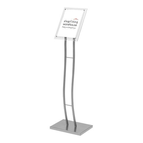 Silver Curved Floor-Standing Sign Holder