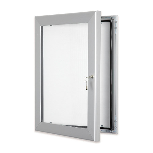 Silver Indoor/Outdoor Lockable Poster Display Case - 45 mm Frame
