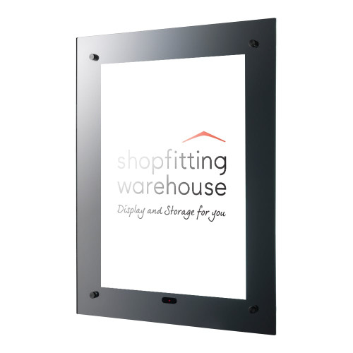 Mirrored LED Sign Holder - Wall-mounted