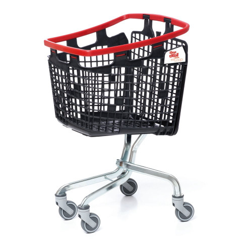 Black Shopping Trolley with Red Wrap-around Handle - H1025 x W585 x D565