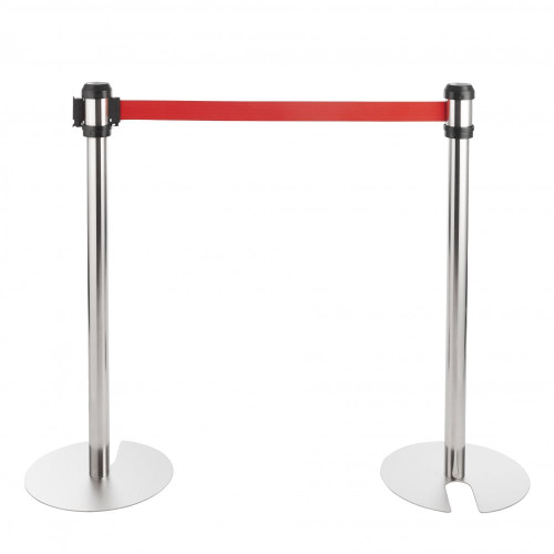 All-Way Stackable Retractable Belt Barriers - Polished Stainless Steel with 2m Red Belts