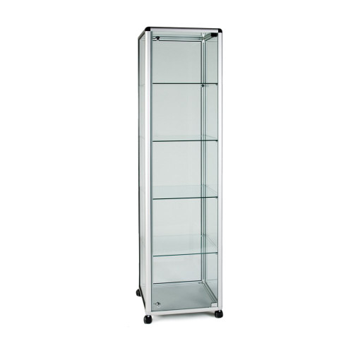 Glass Display Cabinet Tower with 4 Shelves - Contour Range