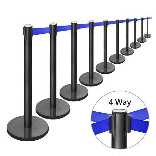 10 x Retractable Belt Barrier Posts - Black Posts with Webbed Belts