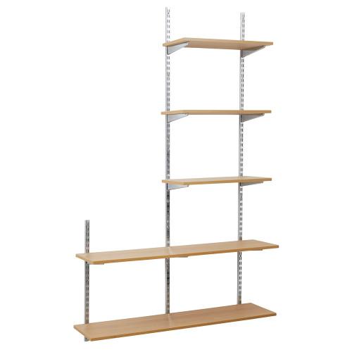 Chrome & Oak Twin Slot Shelving Kit - H1980mm, 3 Uprights & 5 Shelves