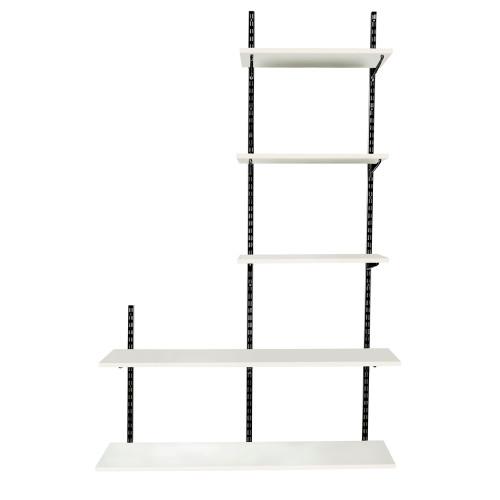 Black & White Twin Slot Shelving Kit - H1980mm, 3 Uprights & 5 Shelves