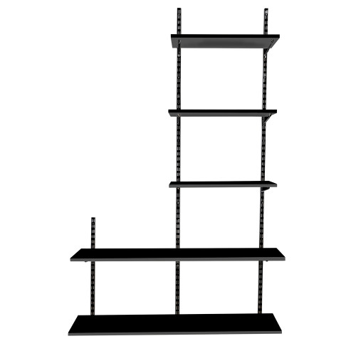 Black Twin Slot Shelving Kit - H1980mm, 3 Uprights & 5 Shelves