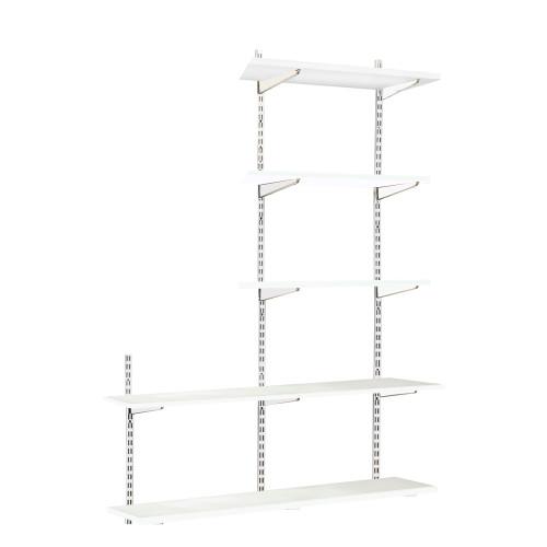 White Twin Slot Shelving Kit - H1980mm, 3 Uprights & 5 Shelves