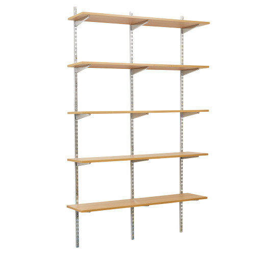 Chrome Twin Slot Shelving Kit - H1980mm, 3 Uprights & 5 Oak Wooden Shelves