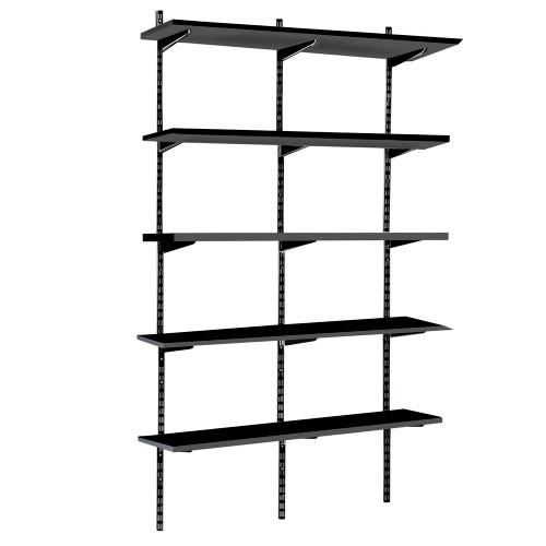 Black Twin Slot Shelving Kit - H1980mm, 3 Uprights & 5 Black Wooden Shelves