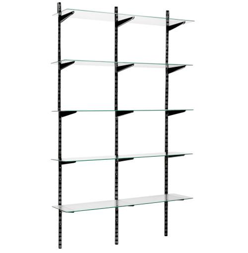 Black Twin Slot Shelving Kit - H1980mm, 3 Uprights & 5 Glass Shelves