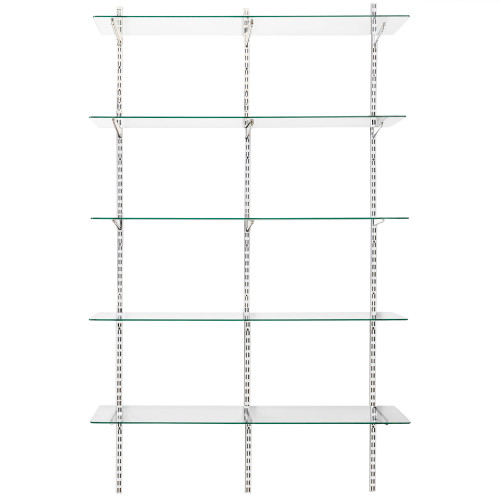 White Twin Slot Shelving Kit - H1980mm, 3 Uprights & 5 Glass Shelves