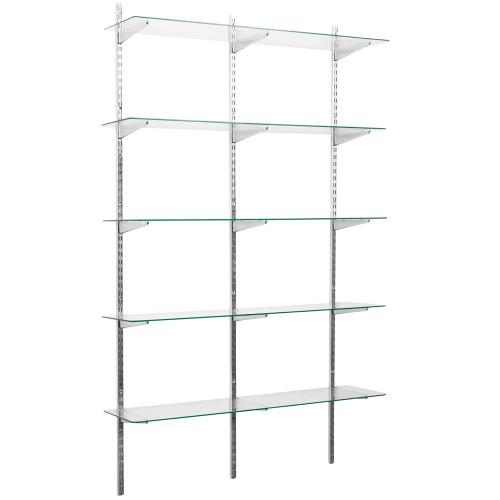 Chrome Twin Slot Shelving Kit - H1980mm, 3 Uprights & 5 Glass Shelves