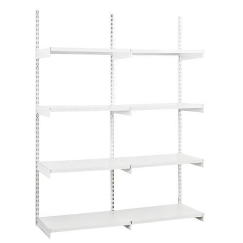 White Twin Slot Shelving Kit - H1980mm, 3 Uprights & 8 White Steel Shelves