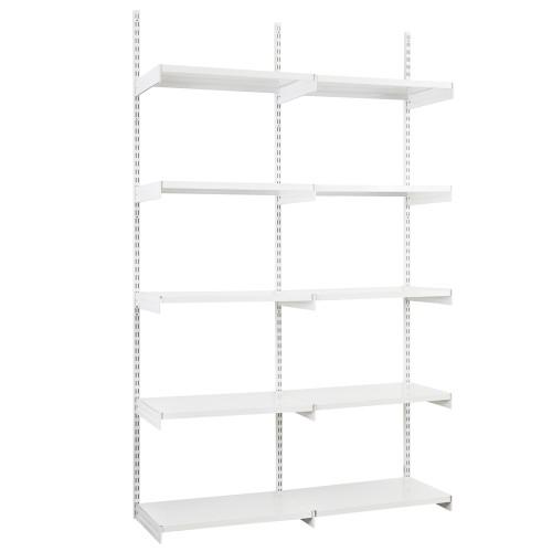 White Twin Slot Shelving Kit - H1980mm, 3 Uprights & 10 White Steel Shelves