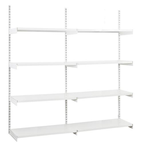 White Twin Slot Shelving Kit - H1980mm, 3 Uprights &  8 1000mm White Steel Shelves