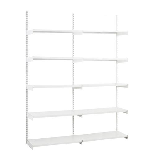 White Twin Slot Shelving Kit - H1980mm, 3 Uprights & 10x 1000mm White Steel Shelves