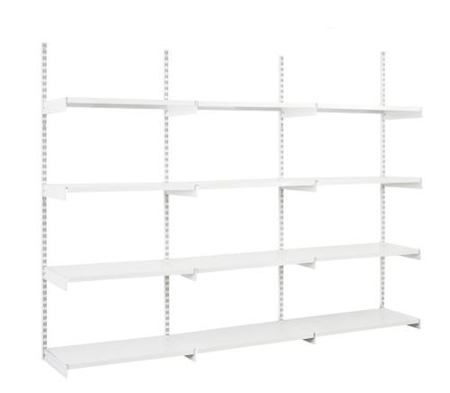 White Twin Slot Shelving Kit - H1980mm, 4 Uprights & 12 White Steel Shelves
