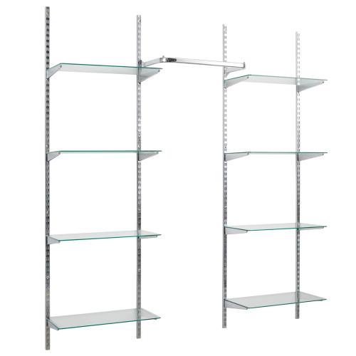 Chrome Twin Slot Shelving Kit - H1980mm, 4 Uprights, 8 Glass Shelves & Hanging Rail