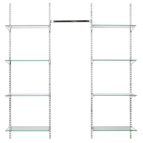 White Twin Slot Shelving Kit - H1980mm, 4 Uprights, 8 Glass Shelves & Hanging Rail