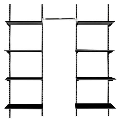 Black Twin Slot Shelving Kit - H1980mm, 4 Uprights, 8 Wooden Shelves & Hanging Rail