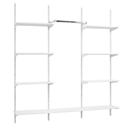 White Twin Slot Shelving Kit - H1980mm, 4 Uprights, 8 Shelves & Hanging Rail