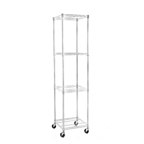 4 Tier Chrome Wire Shelving Unit with Wheels - H1875 x W450 x D450mm