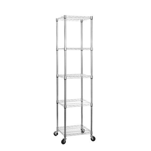 5 Tier Chrome Wire Shelving Unit with Wheels - H1875 x W450 x D450mm