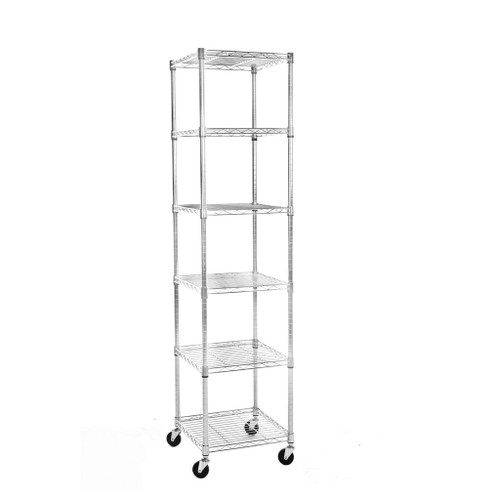 6 Tier Chrome Wire Shelving Unit with Wheels - H1875 x W450 x D450mm