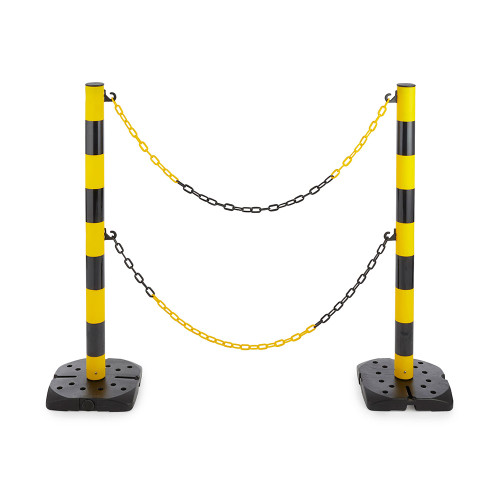 Hazard Chain Barrier - Pair of Posts with 2 Chains - Yellow/Black