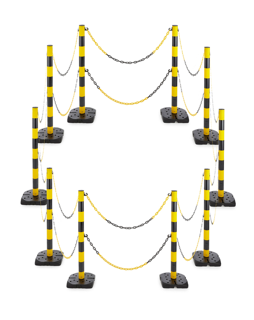 Hazard Chain Barrier - 10 Pack of Posts with 18 Chains - Yellow/Black
