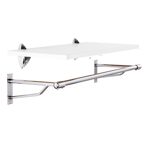 Wall-Mounted Wooden Shelf with Heavy Duty Hanging Rail - W900mm