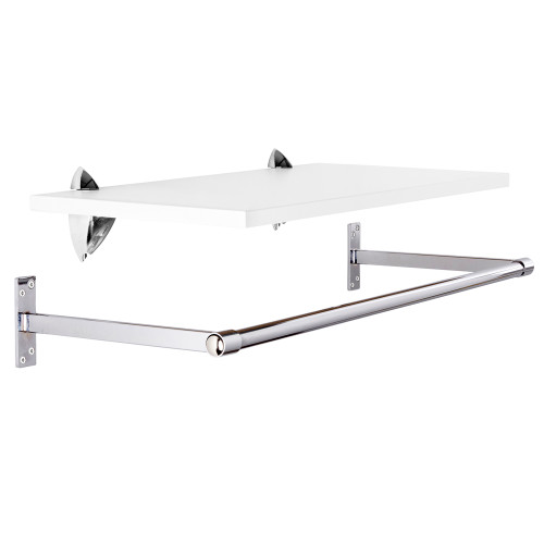 Wall-Mounted Wooden Shelf with Hanging Rail - W900mm