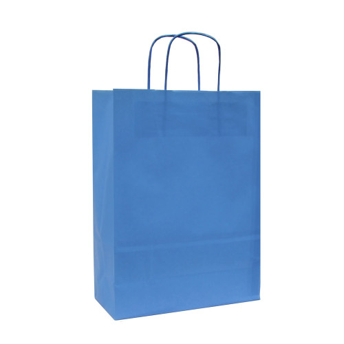 Box of 250 Blue Large Paper Carrier Bags