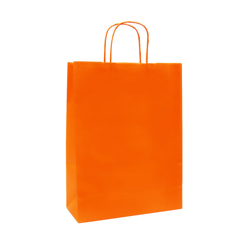Box of 250 Orange Large Paper Carrier Bags