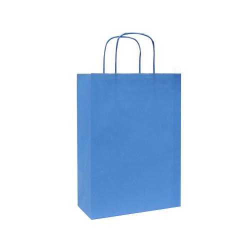 Box of 250 Blue Medium Paper Carrier Bags