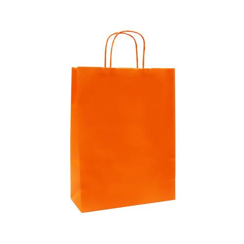 Box of 250 Orange Medium Paper Carrier Bags