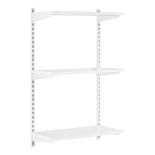 White Twin Slot Shelving Kit - H1000 x D300mm - 3 Shelves